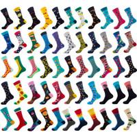 calcetines de las mujeres coreanas al por mayor-Calcetines para hombre New Fashion Student Rainbow Long Wearproof Soft Tide Korean Happy Male Woman Wholesale Cotton Sport