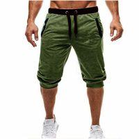 erkekler için pantolon markalı toptan satış-Erkek Baggy Jogging Yapan Rahat Ince Harem Şort Yumuşak 3/4 Pantolon Moda Logo ile Yeni Marka Erkekler Sweatpants Yaz Rahat Erkek Şort M-3XL