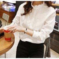 blusa de colar de babados mais tamanho venda por atacado-100% Algodão Mulheres Camisa Branca Ruffled Collar Plus Size Mulheres Trabalho Blusa Senhora Roupas Moda Casual Tops Y19050501