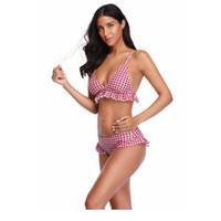 bikini de dos piezas push up padding al por mayor-Womens Lace Plaids Imprimir Bikini de dos piezas Moda Push-Up Ropa de playa Trajes de baño Acolchado Sexo Verano Hot Plaids Bañadores TTA 95