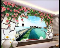 Wholesale black art picture for living room online - 3d room wallpaper custom photo mural European D sea trestle rose rose TV background wall wall art canvas pictures wallpaper for walls d