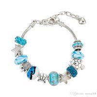 korallen armbänder frauen großhandel-Shell Starfish Coral Ocean Armbänder - Damen Blue Crystal Glass Beach Armband für Frauen Mädchen DIY Souvenir Schmuck