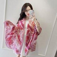пернатый шарф оптовых-90 см * 180 см высокое качество бренда дизайнер перо корона печати саржа моделирования шелковый шарф дамы женский большой шарф шарф мода шаль