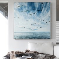 Wholesale landscape art posters resale online - Nordic Beautiful Blue Sea n Sky Landscape Canvas Painting Poster And Decor Wall Art Picture For Living Room Bedroom Aisle Studio