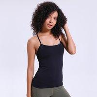 soutien-gorge sans bretelles dos achat en gros de-Veste de sport en vrac Womens Y Back avec soutien-gorge intégré Vêtements de yoga Blouse à bretelles respirantes de couleur unie sans logo