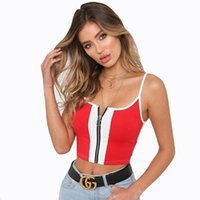 78bb895a8b5 Mode T-shirt Patchwork Rouge Et Blanc Court Halter Top Femme Slim Crop Top  Crop Top Femmes