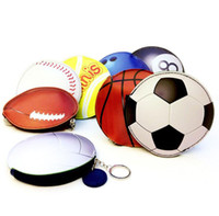 fußball-brieftaschen großhandel-Basketball Geldbörse Schlüsselbund Baseball Fußball Cartoon Brieftasche PU Sport Tasche Ändern Tasche Mitbringsel OOA6732