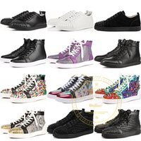 Wholesale parties tops for mens for sale – custom 2019 New Luxury Designer Red Bottom Shoes For Mens Women High Top Sequined Glitter Fashion Sneakers Party Flats Casual Shoes