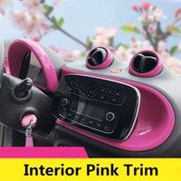 ingrosso auto astratta rosa-Pannello di console di colore rosa ABS Car Interior Outlet Meter Center Pannello di modanatura Trim per Smart fortwo forfour 2015 2016 2017 2018 2019