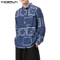 блузка с длинным рукавом оптовых-INCERUN Chinese Style Printed Men Shirt Long Sleeve Leisure Casual  Shirts Men Vintage Tops Blouse Camisa Masculina 2019
