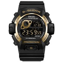 Wholesale army watch alarm resale online - New LED digital watch Men gold waterproof military army Sport Watches New relogio masculino esportivo digital Clock