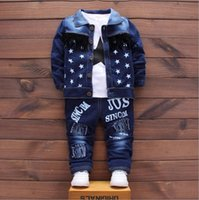 bluzlar korece çocuklar toptan satış-Yakışıklı Erkek Sonbahar Kore Drenaj Geri Denim Bluz + kot + ceket Üç Adet Çocuk Giyim Setleri Kovboy Mavi