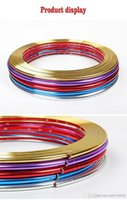 krom kaplama şeritleri toptan satış-8 M Sticker PVC Kesilmiş Şeritler Izgara Lambaları Jant Krom Jantlar Dekorasyon Koruyucu Araba tasarım araba jant göbeği koruma