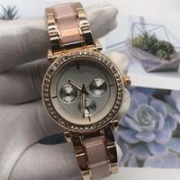 marca relógios diamantes venda por atacado-2019 Top venda de Alta Qualidade MK strass Luxo mulheres assistir diamante Moda senhora vestido assistir famosa marca de cristal por atacado feminino casual