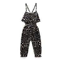 butik çocuk oyuncağı giyim toptan satış-Toddler Kızların Sevimli Aşk Kalp Baskı Kolsuz Genel Siyah Tulum INS Bebek Bebek Gilrls Çocuklar Yaz Nokta Çocuk Giyim Butikler