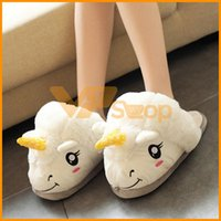 Wholesale fluffy unicorn plush for sale - Group buy Parent Child Unicorn Plush Slippers cm cm Unicorn Casual Shoes Warm Household Fluffy Slippers for Women Men Big Children Sandals