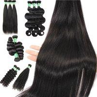 gevşek atkı saç uzantısı toptan satış-Brezilyalı Virgin İnsan Remy Saç Uzantıları Düz Vücut Dalga Gevşek Derin Kıvırcık Hint İşlenmemiş 8-28 inç Örgü Çift Atkı 3 Demetleri