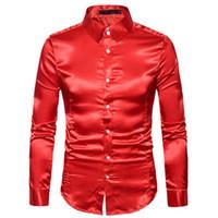 homens de smoking brilhante venda por atacado-Camisa de seda Dos Homens de Cetim Suave Camisa Sólida Tuxedo Business Chemise Homme Casual Slim Fit Shiny Ouro Vestido de Casamento camisas