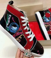 Wholesale light shining sneakers for sale - Group buy womens shoes Sneakers shining Spikes High Top rivet leather red rubber sole Skateboarding Sports Shoes new mens Dress Casual Shoes