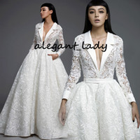 Wholesale princess wedding dress size 12 resale online - 2020 High End Crochet Lace Wedding Dresses V neck Pocket Design Long Sleeve Puffy Skirt Bride Casual Outdoor Wedding Gown Plus