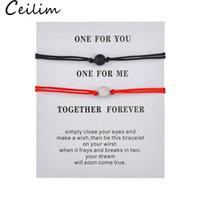 ingrosso braccialetto rosso stringato intrecciato-Opaco pietra lavica pietra naturale braccialetto perline rosso stringa intrecciatura paio bracciali per uomo donna con desiderio gioielli carta uno per voi