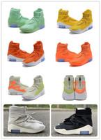 zapatos deportivos de moda con zoom al por mayor-Air Fear of God 1 Boots Zapatos de diseñador de moda FOG 1 Atletismo al aire libre Amarillo Naranja Negro Gris Zapatillas de deporte con zoom Tamaño 5-12 envío gratis