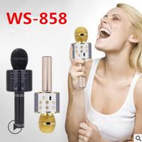 karaoke microfono pc al por mayor-WS-858 Altavoz inalámbrico Micrófono portátil Karaoke Alta fidelidad Bluetooth Player WS858 Para iphone 6 6s 7 ipad Samsung Tablets PC mejor que Q7 Q9