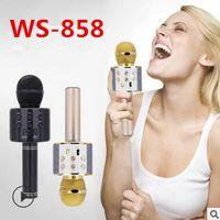bluetooth karaoke toptan satış-WS-858 Kablosuz Hoparlör Mikrofon Taşınabilir Karaoke Hifi Bluetooth Oyuncu WS858 iphone 6 6 s 7 ipad Samsung Tablet PC Q7 Q9 daha iyi