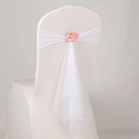 подлокотники оптовых-14 Цветов спандекс створки с розовым шаром искусственный цветок и органзы створки свадьба лайкра галстук-бабочку группа оптом стул створки