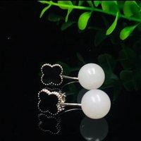 ingrosso borchie in orecchino nero-Moda Argento 925 Bianco giada nera dello smalto Processo Orecchini per le donne Fine Jewelry