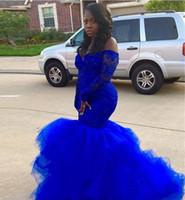 şık siyah akşam gece kıyafetleri toptan satış-Royal Blue Dantel Mermaid Gelinlik Uzun Kollu Kapalı Omuz Katmanlı Tül Etek Akşam Parti Gowns Artı boyutu özelleştirme