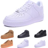 zapatillas de colores al por mayor-2019 Nike Air Force oen 1  CORK For MenWomen High Quality One 1 Zapatillas de running Corte bajo Todo Blanco Negro Color Zapatillas casuales Tamaño EE. UU. 5.5-12