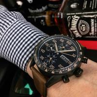 calibre 16 relógio automático venda por atacado-Luxo Assista Carrera Calibre 16 Homem 43mm Relógio Automático De Cerâmica Bazel Pulseira De Couro 316L de Aço para o homem