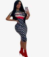 ingrosso migliori modelli di vestiti-Europa e America Nuovo modello Best seller estate Abito casual stampato per donna designer dress Moda donna abiti sexy FF Digital Alphab
