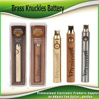 Wholesale bud pens for sale - Group buy Brass Knuckles Battery mAh Gold mAh Wood Adjustable Variable Voltage Preheat O Pen Bud Touch VV Battery For Thick Oil Cartridge Tank