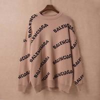 suéter negro a rayas amarillas al por mayor-2019 Otoño Invierno Estilo Europeo Mujeres Suéteres Imprimir Letras Señoras Tops Grueso Manga Larga Jersey Cálido Suéter de Punto Suelto