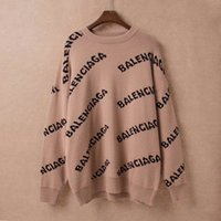 jersey suelto de punto para mujer al por mayor-2019 Otoño Invierno Estilo Europeo Mujeres Suéteres Imprimir Letras Señoras Tops Grueso Manga Larga Jersey Cálido Suéter de Punto Suelto