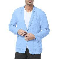 Men Slim Fit Cotton Blend Solid Long Sleeve Thin Suits Blazer Jacket Outwear Male blazers Men's coat Work Wedding Wear 11.4
