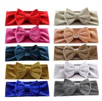 Wholesale pure makeup resale online - Velvet bow Baby headband pure solid color kids holidays makeup accessories children velvet hair band colors