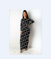 kleidungsstücke großhandel-Kleid Frau Europa und Amerika Ganzkörper Buchstabedrucken Kleid Freizeit Wildes langärmeliges Kleid dünne langer Rock neuer Stil grenzüberschreitende suppl passen