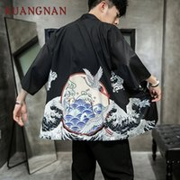 impressão japonesa venda por atacado-KUANGNAN White Crane Imprimir Kimono Men Japanese Kimono Cardigan Harajuku camisa havaiana Homens Streetwear shirt 2019 New