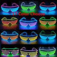 gafas de cumpleaños al por mayor-Fiesta Led Gafas EL Alambre Fluorescente Flash Vidrio Con Ventana Fiesta de Cumpleaños de Navidad de NAVIDAD Barra de Cristal Decorativo Luminoso Vidrio 17 Colores HH7-1448