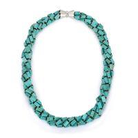 ingrosso perline di rettangolo della collana-Perle di design originale Torsione Turchesi Perle di pietra Collana girocollo Elegante rettangolo naturale verde turchese Cubo collane per le donne