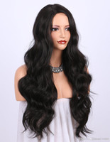 Wholesale right part wigs resale online - for women Natural Looking Long Wavy Right Side Parting NONE Lace Heat Resistant Replacement Wig Full Machine Made inches