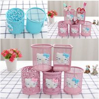 Wholesale traditional pen for sale - Group buy Hello Kitty Hollow Pen Pencil Holder Desktop Pen Storage Box Metal Pen Holder Blue Pink Cute Student Office Organizer