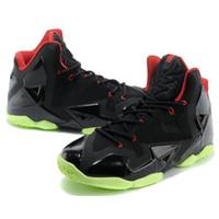 basketbol ayakkabıları yeşil renkte toptan satış-Ucuz Mens Ne satılık lebron 11 basketbol ayakkabı Paskalya MVP Şampiyonası BHM Kırmızı Siyah Mavi Kahverengi Yeşil Glow