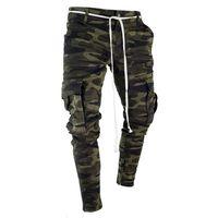 jeans de bolsillo para hombre al por mayor-Hombres Camuflaje Lápiz Diseñador Jeans Moda Bolsillos grandes Diseño de cremallera a rayas Pantalones de Jean delgados
