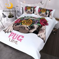 Wholesale kawaii bedding for sale - Group buy Blessliving Trendy Puppy Bedding Set Love Pug Rose Bed Set Queen Sweet Valentine s Day Gift Kawaii Duvet Cover for Dog Lover