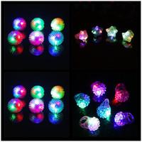 açık çilek toptan satış-LED halkaları yumuşak kauçuk çilek pentagram halkaları / set LA41 Parti Disco 36pcs için Parmak Lights Yanıp sönen Işık Yukarı Flashing Led