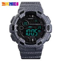 relógios de pulso venda por atacado-Sport Watch Men Relógio Despertador 2 Tempo impermeável dos homens de Exibição de pulso Semana Relógios Denim Digital relogio masculino SKMEI